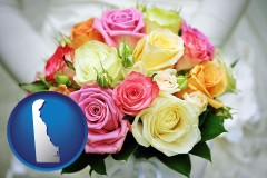 delaware map icon and a bridal wedding bouquet