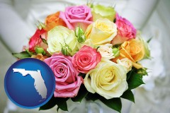 florida map icon and a bridal wedding bouquet