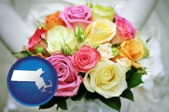 massachusetts map icon and a bridal wedding bouquet