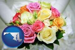 maryland map icon and a bridal wedding bouquet