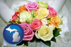 michigan map icon and a bridal wedding bouquet