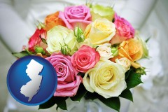 new-jersey map icon and a bridal wedding bouquet