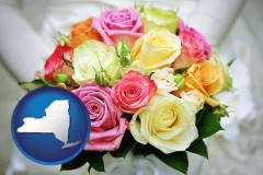 new-york map icon and a bridal wedding bouquet
