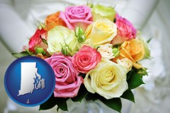 rhode-island map icon and a bridal wedding bouquet