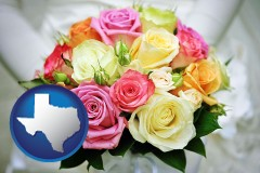 texas map icon and a bridal wedding bouquet